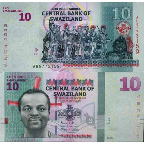 Billet de banque collection Swaziland - PK N° 999 - 10 Lilangeni