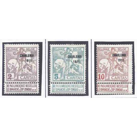 Stempel Sammlung Belgien N° Yvert und Tellier 102_104_106 Neuf mit Scharnier