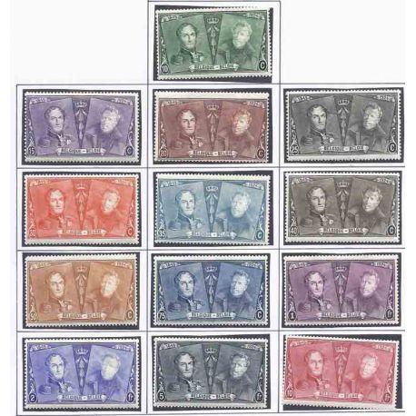 Sello colección Bélgica N° Yvert y Tellier 221/233 Nueve con bisagra