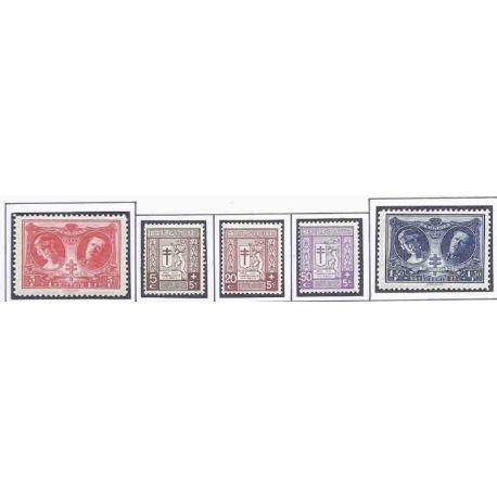 Sello colección Bélgica N° Yvert y Tellier 240/244 Nueve con bisagra
