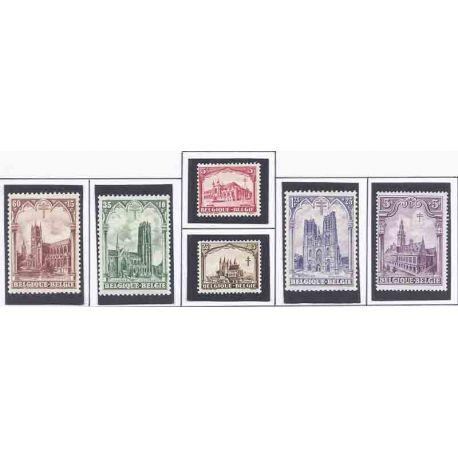 Sello colección Bélgica N° Yvert y Tellier 267/272 Nueve con bisagra