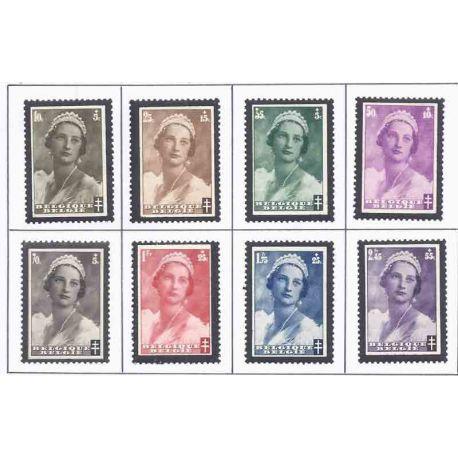 Sello colección Bélgica N° Yvert y Tellier 411/418 Nueve con bisagra