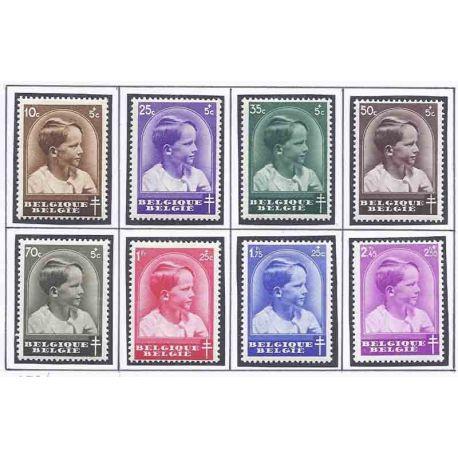 Sello colección Bélgica N° Yvert y Tellier 438/445 Nueve con bisagra