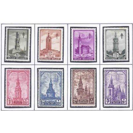 Sello colección Bélgica N° Yvert y Tellier 519/526 Nueve con bisagra