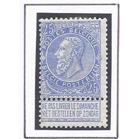 Timbre collection Belgique N° Yvert et Tellier 60 Neuf avec charnière