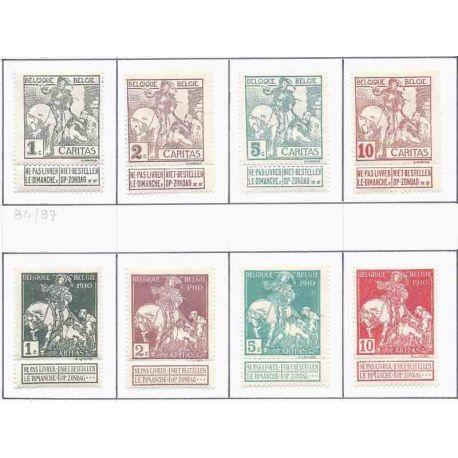 Timbre collection Belgique N° Yvert et Tellier 84/91 Neuf avec charnière