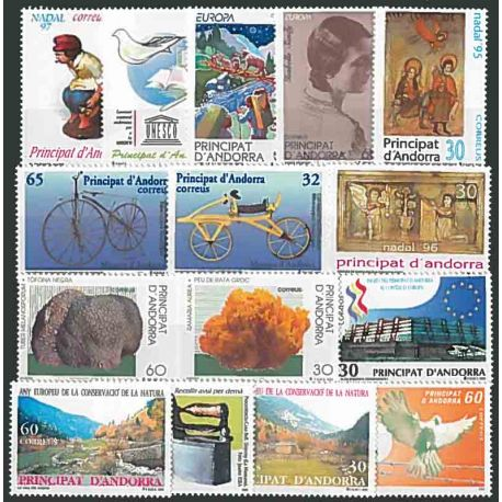Stamps Spanish Andorra 1995/97 in complete Year