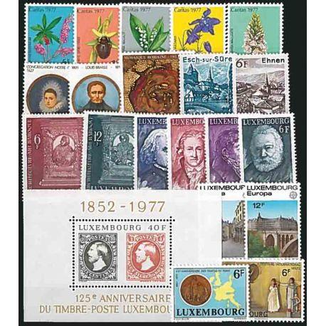 Año completo Sellos nuevos sin charnela 1975 de Luxemburgo