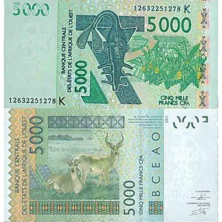 Billet de banque collection Afrique De L'ouest - PK N° 717k - 5000 Francs