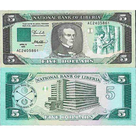 Billete de banco colección Liberia - PK N° 19 - 5 Dólares