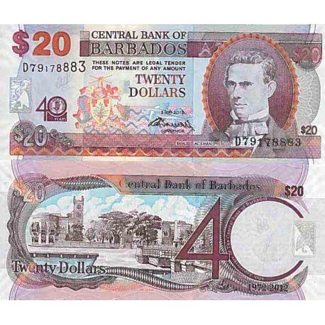 Biglietto di banca raccolta Barbados - PK N° 72 - 20 dollari