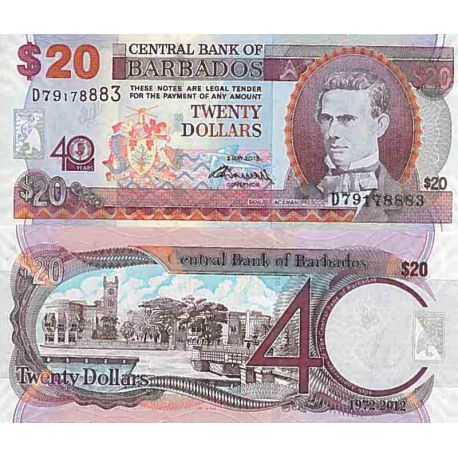 Billet de banque collection Barbade - PK N° 72 - 20 Dollars