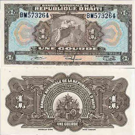 Billet de banque collection Haiti - PK N° 185 - 1 Gourde