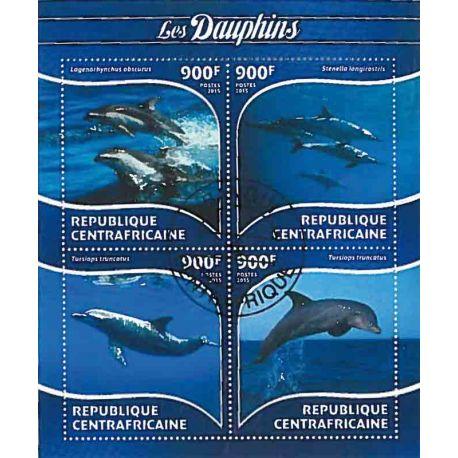 Bloc de 4 timbres Thème Dauphins