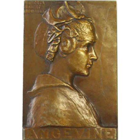 Plaquette en bronze pour l'Anjou par Ernesta Robert-Mérignac