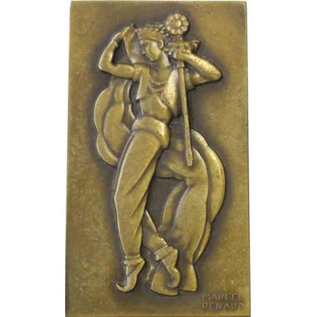 Plaque en bronze uniface, la Danseuse ou Folie