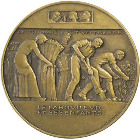 Médaille uniface en bronze - Le laboureur et ses enfants