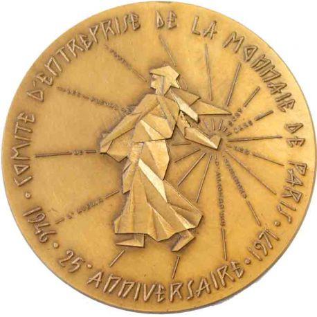 Médaille bronze Comite d'Entreprise de la Monnaie de Paris 1946-1971