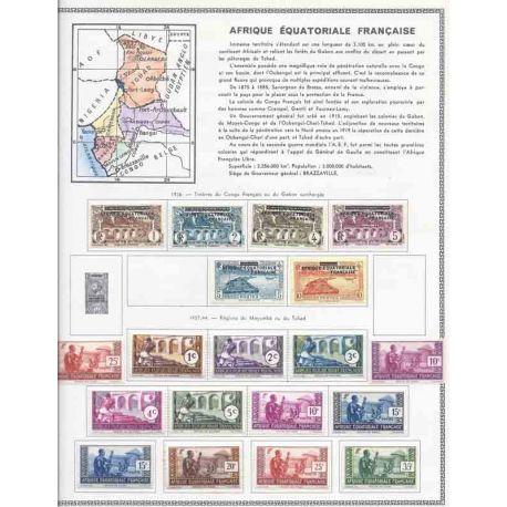 Äquatoriale Briefmarkeensammlung französisches Afrika. Neu und gestempelt.