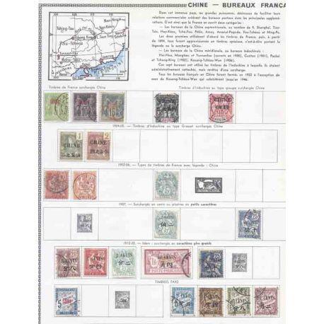 Collection de timbres Chine et Bureaux Français Neufs et oblitérés.