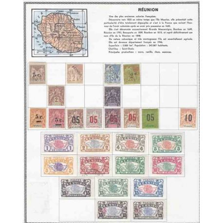 Colección de nuevos sellos de la Reunión y borrados.