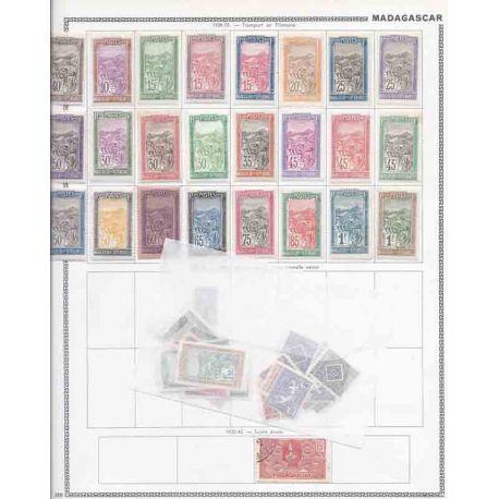 Sammlung neuer und gestempelter Briefmarken von Madagaskar.