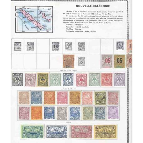 New and obliterated stamp collection of New Caledonia.