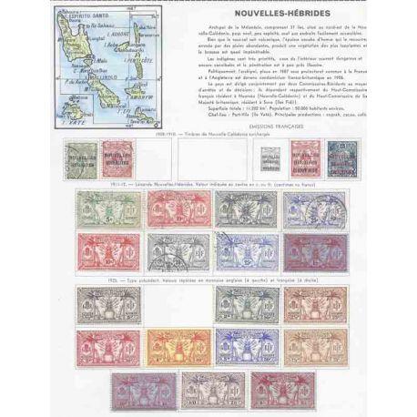 Collezione di francobolli di Nuove Ebridi nuovi e cancellati.