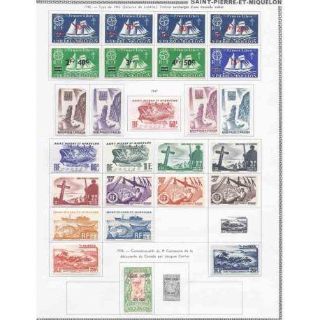 Collezione di francobolli di Saint-Pierre-et-Miquelon nuovi con cerniera.