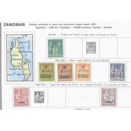 Collection de timbres de Zanzibar Neufs avec charnière
