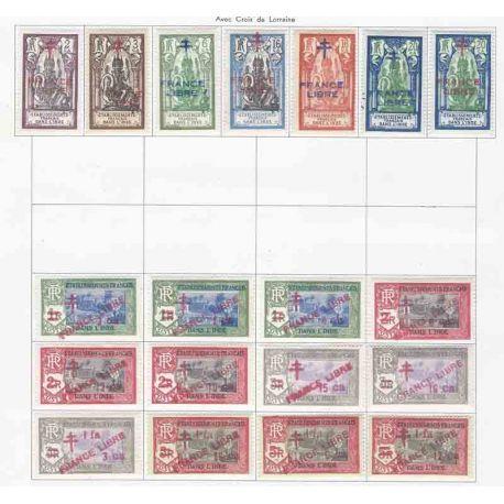 Collezione di francobolli dell'India francese nuovi con cerniera.