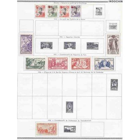 Collezione di francobolli Indochine nuovi e cancellati.