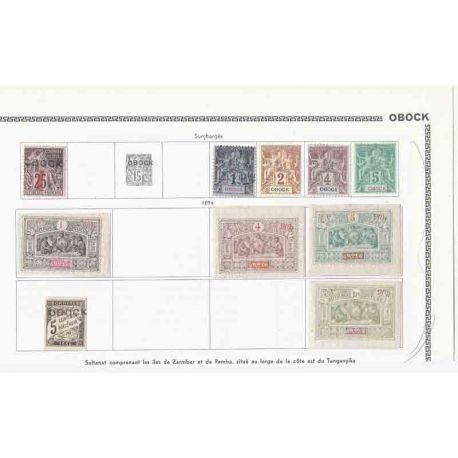 Colección de sellos Obock, Cuota del Somalis Nuevo y borrada.