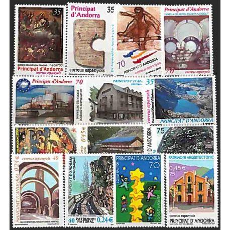 Sellos Andorra Española 2000 en Año completo