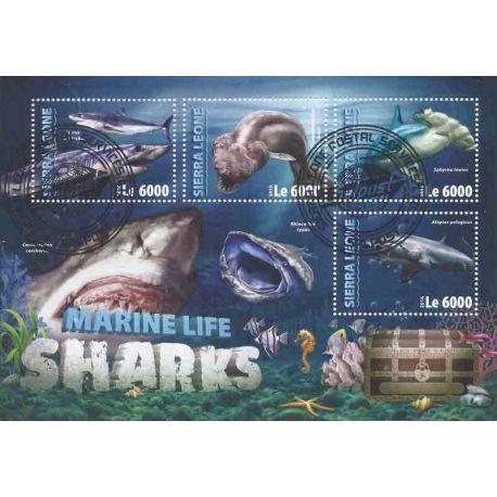 Bloc de 4 timbres Thème Requins