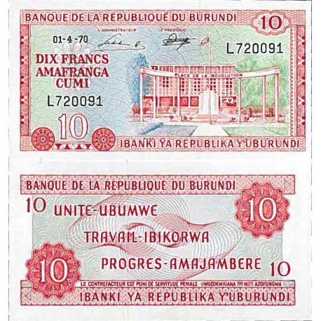 Billete de banco colección Burundi - PK N° 20B - 10 Francos