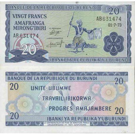 Billete de banco colección Burundi - PK N° 21B - 20 Francos