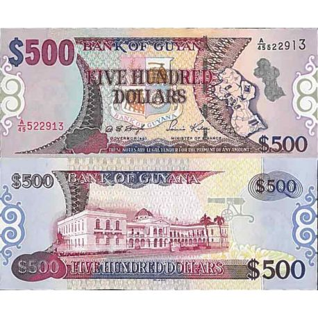 Billet de banque collection Guyane - PK N° 34 - 500 Dollars