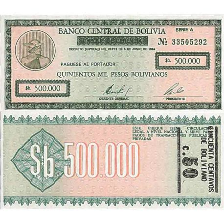Banknote Bolivia collection - N° 198 - 500,000 Bolivianos