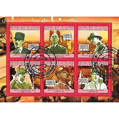 Bloc de 4 timbres Thème De Gaulle