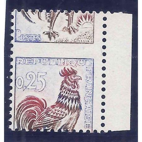 Variété - N°1331 piquage à cheval neuf sans charnière