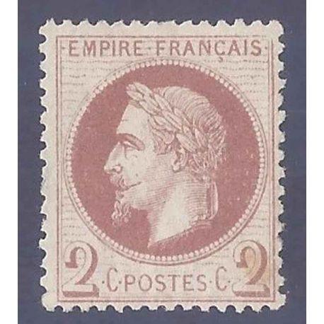 France N° Yvert et Tellier 26B - Neuf avec charnière 2 cts Empire Laurée