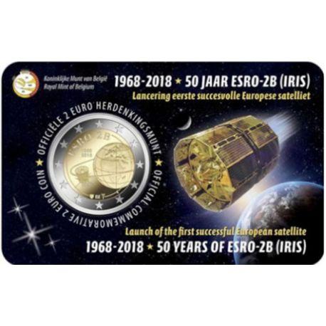 Belgium 2018 - Commemorative coin 2 Euro satellite Launching ESRO-2B Coincard FR