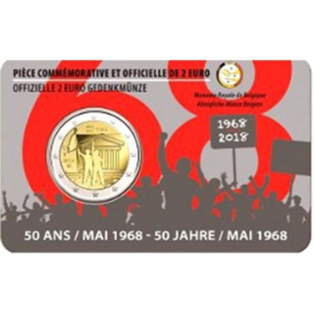 Belgien 2018 - Euro-GedächtnisMünze 2 lehnt Studentin Mai 1968 Coincard FR auf
