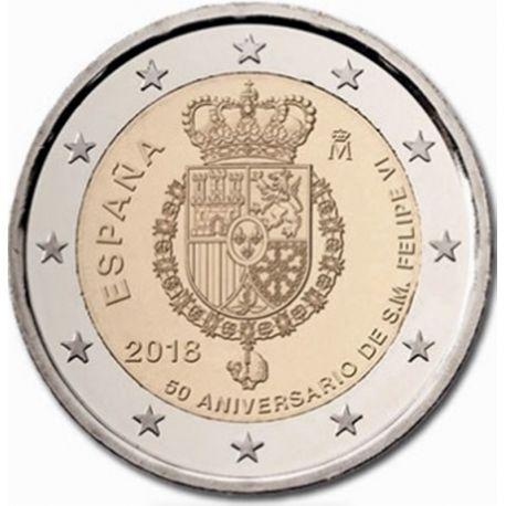 Spagna 2018 - moneta 2 euro commemorativa 50iesimo anniversario di Felipe VI