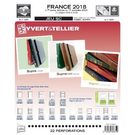 Feuilles SC Yvert et Tellier pour timbres France 1er semestre 2018 avec pochettes