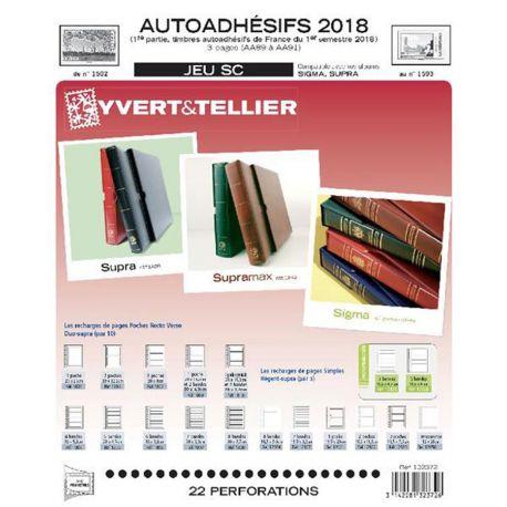 Feuilles SC Yvert et Tellier pour timbres autoadhésifs 1er semestre 2018 avec pochettes