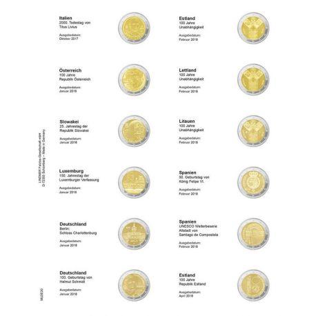 Feuille pour pièces 2 € commémoratives: Octobre 2017 - JAvril 2018