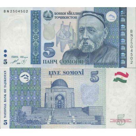Colección de billetes Tayikistán - PK N ° 23 - 5 Dirams