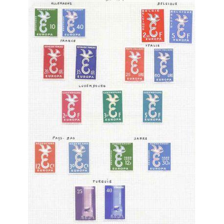 Francobolli nuovi Europa 1958 in anno completo